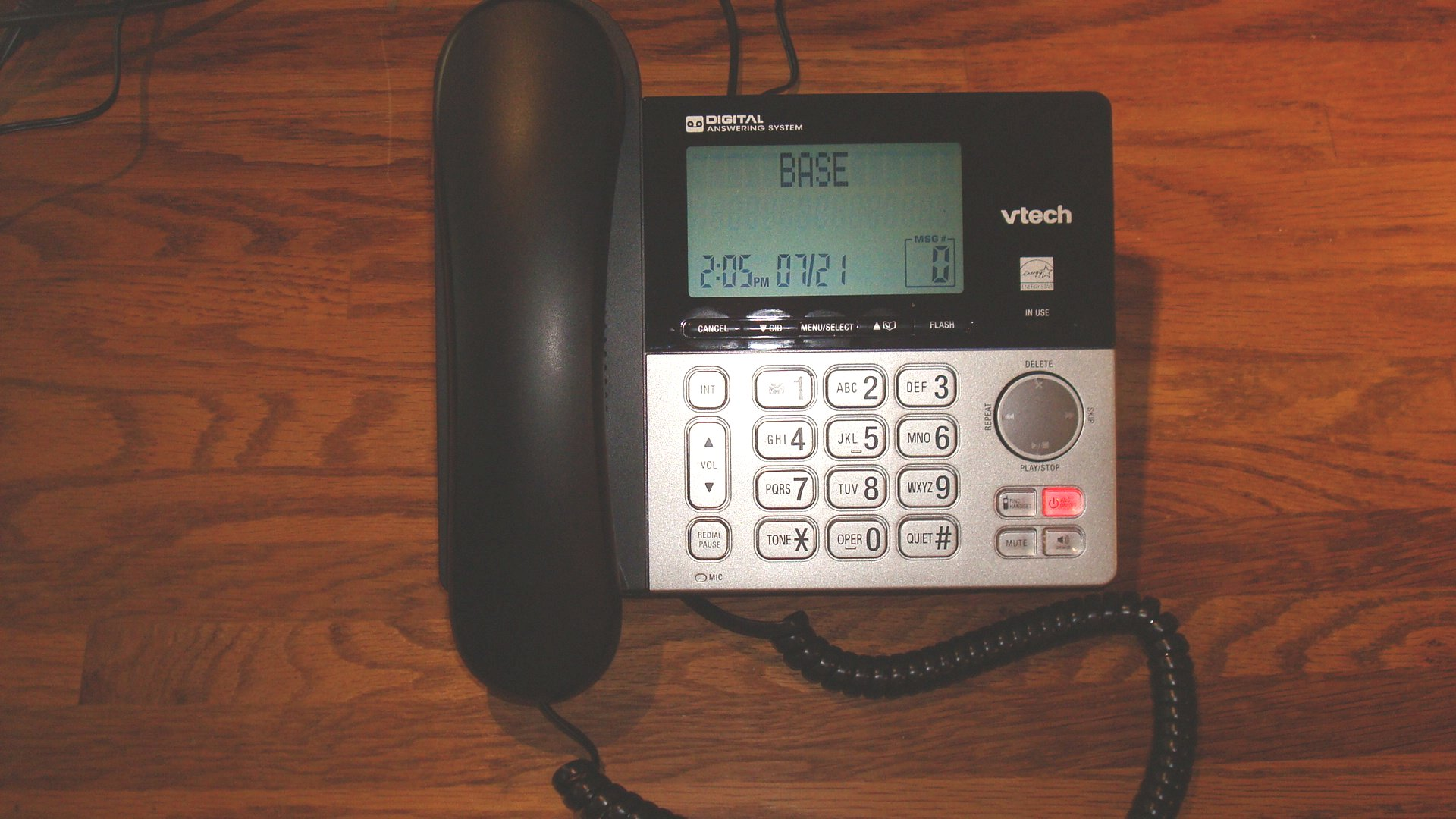 Figure 1: Newly purchased (July 2019) DECT phone answering system used for modification. Vtech model# CS6949.